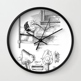 Respirator Vintage Patent Hand Drawing Wall Clock