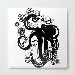 SPACE KRAKEN HAIR Metal Print