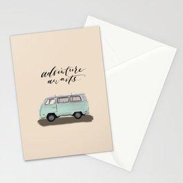 Adventure Awaits - pastel mint minivan, ready to go on an adventure. Stationery Cards