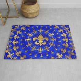 Fleur-de-lis ornament Lapis Lazuli and Gold Rug