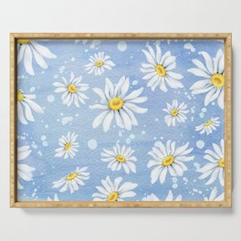 Spring Daisies On Sky Blue Watercolour Serving Tray