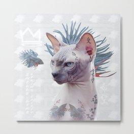 Smells Like Spring tattooed cat Metal Print