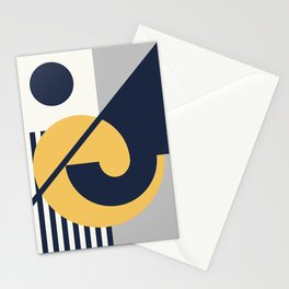 43502-9-p3, Grey Yellow & Blue, Set of 3 Bauhaus Style Art, Boho decor Stationery Cards