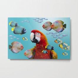Macaw Tropical Fishes - Fantasy Design Metal Print
