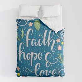 Faith, Hope & Love Neon Floral Comforters