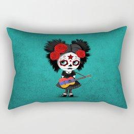 Day of the Dead Girl Playing Armenian Flag Guitar Rectangular Pillow