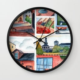 Collection of dreamy street corners Wall Clock