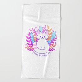 Pawsitive Cat   Nikury Beach Towel