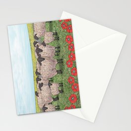 Suffolk sheep in a field with poppies Stationery Cards