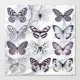 Black and white marble butterflies Canvas Print