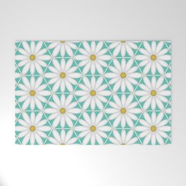 Daisy Hex - Turquoise Welcome Mat