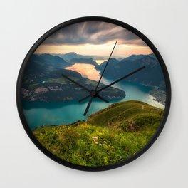 mountain lake mountain lake Lake Lucerne Alps Switzerland Wall Clock