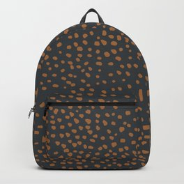 Wild animal print cheetah spots and dots copper rust charcoal gray Backpack