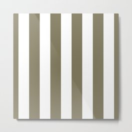 Army Brown and White Vertical Cabana Tent Stripes Metal Print
