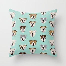 English Bulldog pattern print dog breed pet portrait gifts for dog owner bulldog Throw Pillow