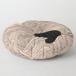 Abstract landscape yin yang moon & sun ocean wave  Floor Pillow