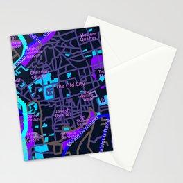 Jerusalem Map , Israel Stationery Cards