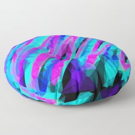 psychedelic geometric polygon abstract in pink blue with black background Floor Pillow