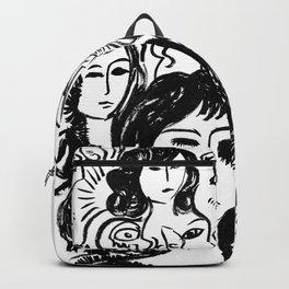 Black and white girls sketches graffitis Backpack