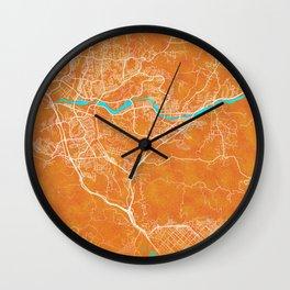 Santa Clarita, CA, USA, Gold, Blue, City, Map Wall Clock