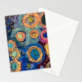 Robert's Abstract Gold & Blue Deep Sea Leopard Gem Tone Circles Stationery Cards