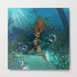 Cute little mermaid with turtle Metal Print