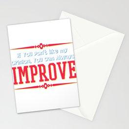 Motivational & Hilarious Improve Tshirt Design Always improve Stationery Cards