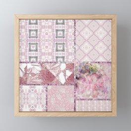Soft Rose, Cream & Soft Gray, Silver Gray Tiles / Collage Framed Mini Art Print