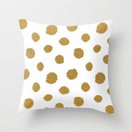 Golden touch III - Gold glitter effect polka dot pattern Throw Pillow
