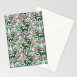 patterned with colorful birds on jungle trees Stationery Cards