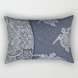 Contemporary Hawaiian Tapa with Sea Turtles Rectangular Pillow