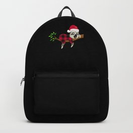 Cute Sloth Plaid On Branch With Santa Hat  Backpack