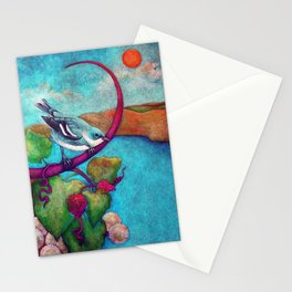 Cerulean Warbler on Riverbank with Grapevine and Buttonbush Stationery Cards