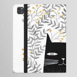 black cat with botanical illustration iPad Folio Case