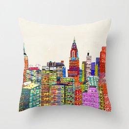 new york city skyline Throw Pillow