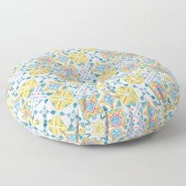 Blue and yellow Brazilian tiles Floor Pillow