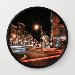 Glens Falls Light Trails Wall Clock
