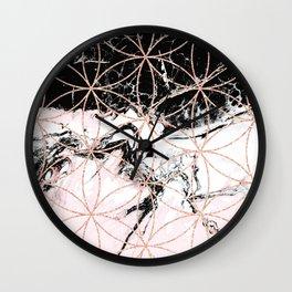 pink marble with mandala rose gold pattern Wall Clock