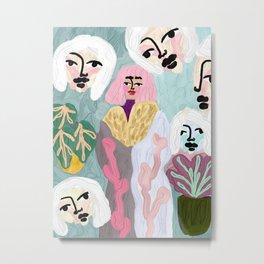 Morena, Original artwork, spring colors, girl, face Metal Print