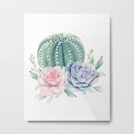 Cactus Rose Succulent Watercolor by Nature Magick Metal Print