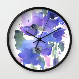 Blue Poppies and Wildflowers Wall Clock