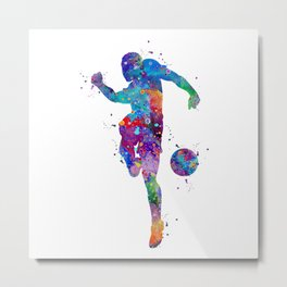 Boy Soccer Player Sports Gift Colorful Blue Purple Watercolor Art Football Player Gift Metal Print