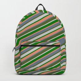 Eye-catching Green, Dark Salmon, Slate Gray, Dark Olive Green & Light Grey Colored Striped Pattern Backpack