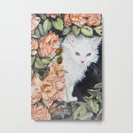 Cat amongst flowers Metal Print