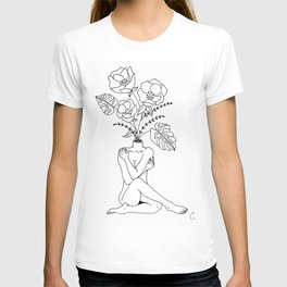 Female Form in Bloom Floral Design T-shirt
