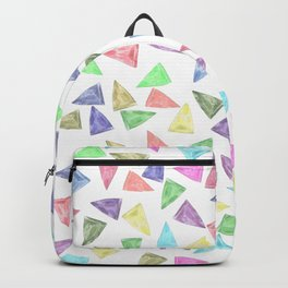 Hand painted pastel pink teal green watercolor triangles Backpack
