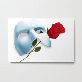 Mask and Rose Metal Print
