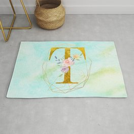 Gold Foil Alphabet Letter T Initials Monogram Frame with a Gold Geometric Wreath Rug