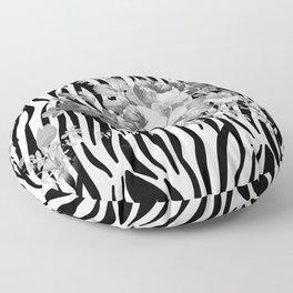 Vintage elegant black white floral zebra animal print collage Floor Pillow