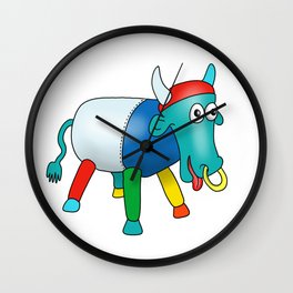 Steel Drum Colourful cow. Wall Clock